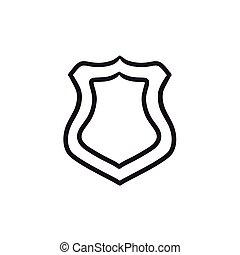 police, croquis, écusson, icon.