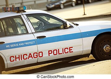 Police Cruiser in Chicago. Chicago Police Car. Transportation and Public Safety Collection.