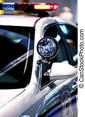 Police Cruiser Spot Light - American Police Vehicle Closeup....