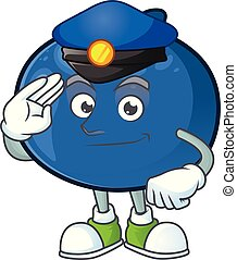 Police cute and fresh blueberry fruit character cartoon.