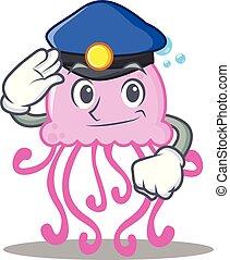 Police cute jellyfish character cartoon