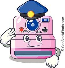 Police cute retro instant camera on cartoon