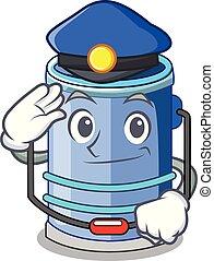 Police cylinder bucket Cartoon of for liquid