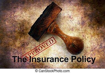 police d'assurance, -, approuvé, grunge, concept