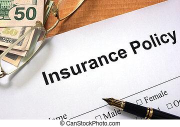 police d'assurance, formulaire