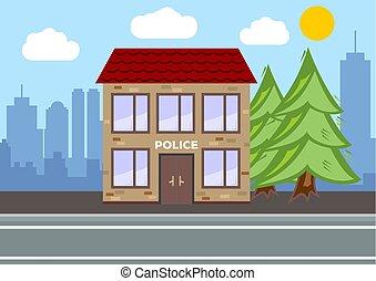 Police Department building. City landscape concept. Flat...