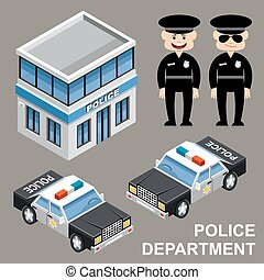 Police department. Building, police cars and police officer....
