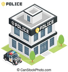 Police department building - Vector isometric police...
