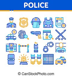 Police Department Collection Icons Set Vector