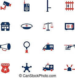 police department icon set - police department color vector...