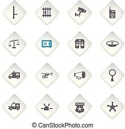 police department icon set - police department flat rhombus...