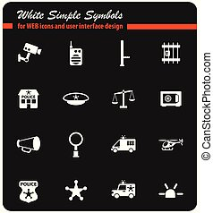 police department icon set - police department vector icons...