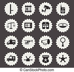 police department icon set - police department web icons...