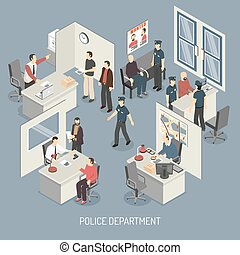Police Department Isometric Composition - Police department...