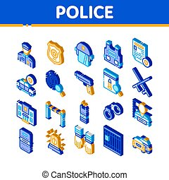 Police Department Isometric Icons Set Vector