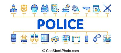 Police Department Minimal Infographic Banner Vector