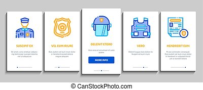 Police Department Onboarding Elements Icons Set Vector