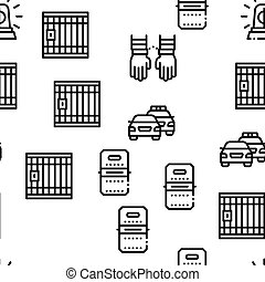 Police Department Seamless Pattern Vector