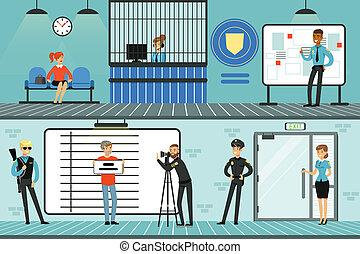 Police department set, policemen at work, investigating...