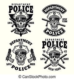 Police department vector emblems with skull - Police...
