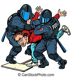Police detain a protester, the violence against the ...