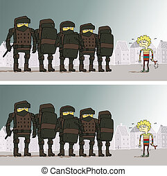 Police Differences Visual Game. Task: find 10 differences!...