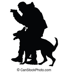 Police Dog 1 - Silhouette of a police officer with a gun and...