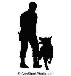 Police Dog 4 - Silhouette of a police officer training with...