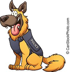 Police dog - Cartoon police dog. Vector clip art...