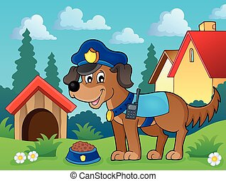 Police dog theme image 2 - eps10 vector illustration.