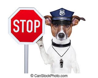 police dog with a street stop sign