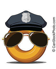 Police Donut - An isolated vector of a cartoon donut wearing...