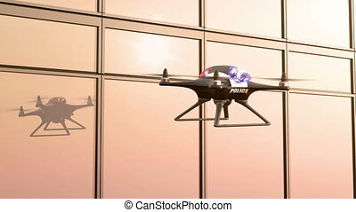 Police Drone Flies along the Office Building, seamless...