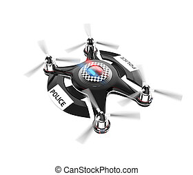 Police drone isolated on white