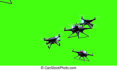 Police drones on a green screen background, 3d animation, 4K