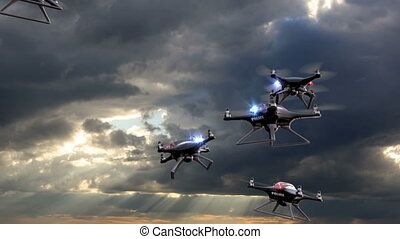 Police drones take off against sky background - Police...