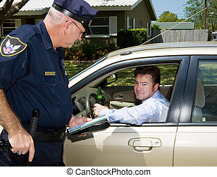Police officer pulling over a drunk driver. The driver is holding a beer and looking embarassed.