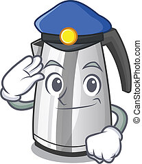 Police electric stainless steel kettle on character