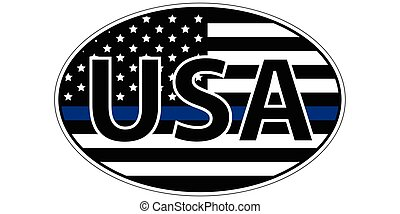 police enforcement flag sticker blue stripe symbolic