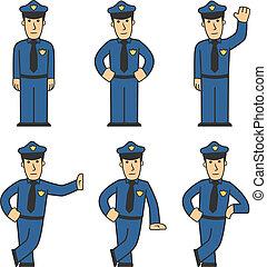 police, ensemble, caractère, 01