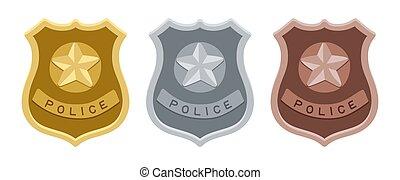 police, ensemble, insignes