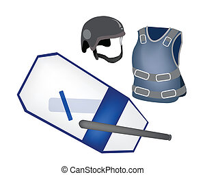 Police Equipment and Police Uniform on White Background -...