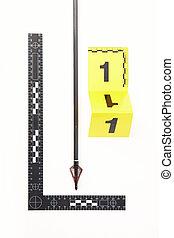 Police evidence - bloody razor blade arrow