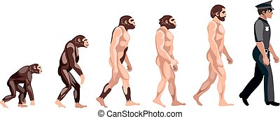 Police Evolution on white background