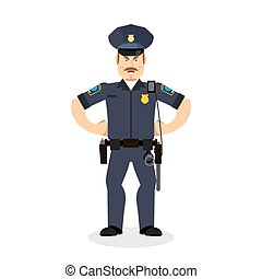 police, fâché, cop., policeman., wrathful, officier, agressif