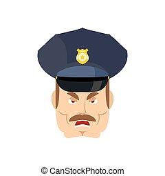 police, fâché, cop., policeman., wrathful, officier, agressif