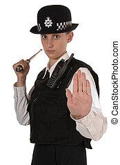 police, femme, position, officier, royaume-uni, prêt