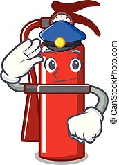 Police fire extinguisher character cartoon