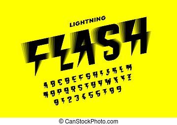 police, flash, éclair, style