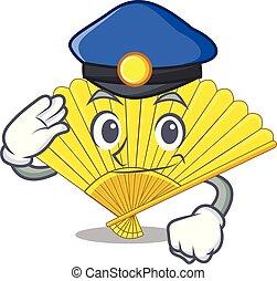 Police folding cartoon fan in the bag